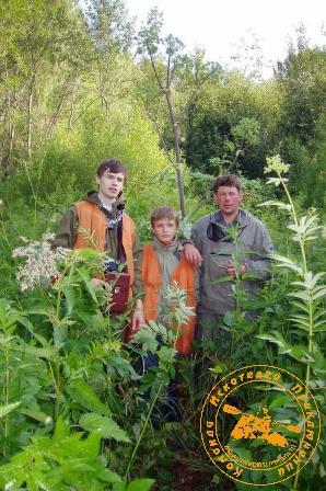 Сплав по реке Серга, июль 2004 года. Леонид, Данилка и Владимир
