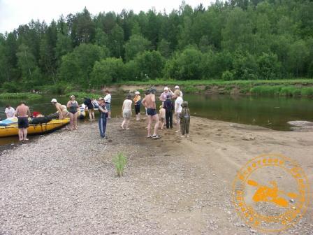 Сплав по реке Серга, июль 2005. Высадка