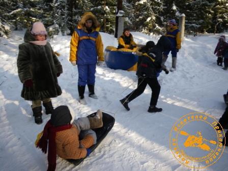 Детский праздник - январь 2010. Гонки на волокушах